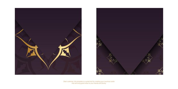 Brochure template burgundy with greek gold pattern prepared for typography.