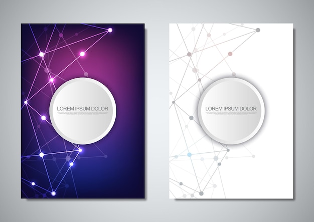 Brochure template or cover design. digital technology with plexus background and space for your text. geometric abstract background of connecting dots and lines.