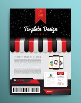 ショップとスマートフォンによるパンフレットのテンプレートデザイン