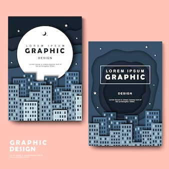 Brochure template design with silent but attractive city scene