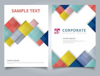 Brochure template geometric square background