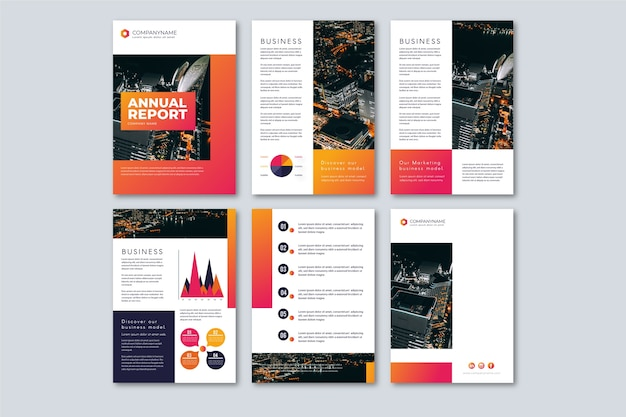 Brochure template layout with high view city