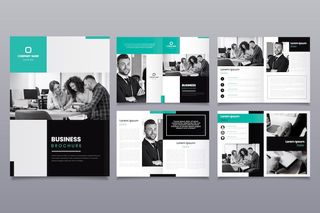 Brochure template layout with people