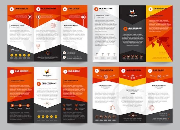 ロゴの企業情報のための場所で設定されたパンフレットテンプレート