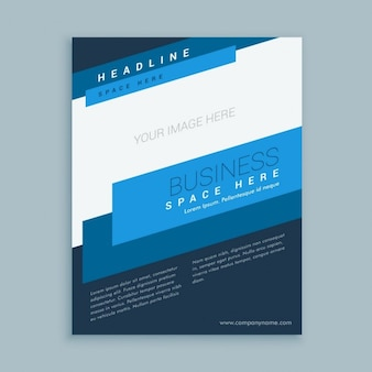 Brochure template with blue crosswise stripes