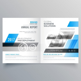 Brochure template with blue shapes