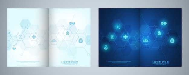 医療アイコンとシンボルのパンフレットテンプレート。ヘルスケア、科学、医学の技術コンセプト。