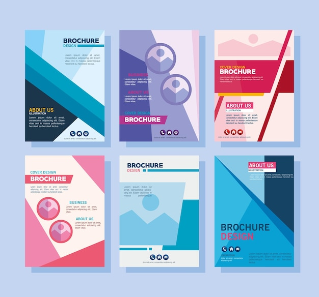 Brochure templates symbol collection