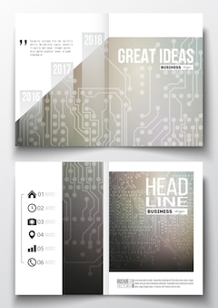 Brochure templates with technology backgrounds