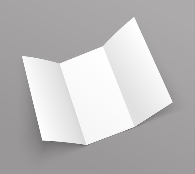 Brochure trifold blank leaflet mockup. fold flyer paper tri fold menu template.