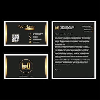 Brochure and visiting card set with dark background  vector