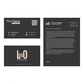 Brochure and visiting card set with dark grey background vector