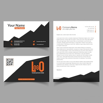 Brochure and visiting card set with new design vector