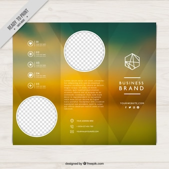 Brochure with blurred background and geometric elements