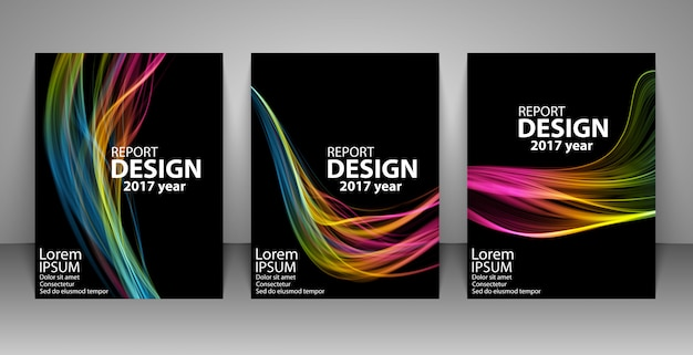 Brochure with futuristic colorful light wave background.