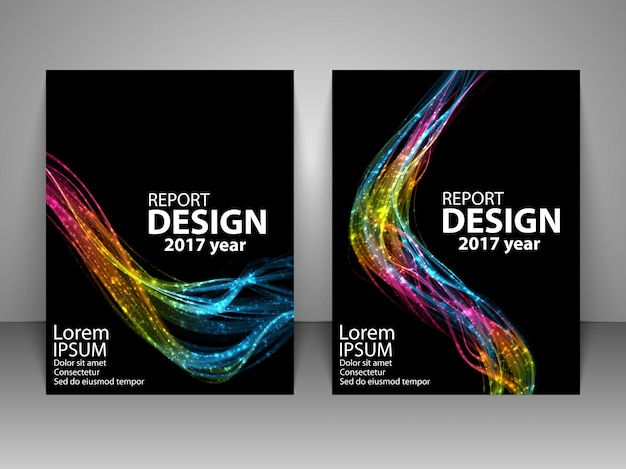 Brochure with futuristic colorful light wave.