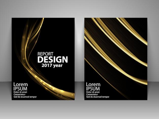 Brochure with futuristic light wave.