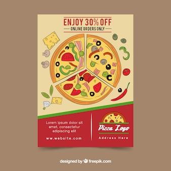 手で描かれたピザ付きパンフレット