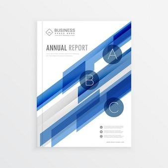 Годовой дизайн шаблона отчета с голубой абстрактные формы дизайн брошюры