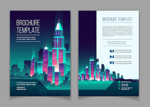 Brochure with modern megapolis at night. booklet with glowing buildings in cartoon style