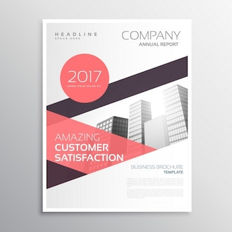 Brochure with red geometric shapes