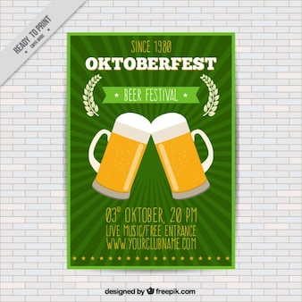 Brochure with two mugs of beer for the oktoberfest