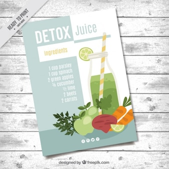 Brochure with vegetables and fruits juice