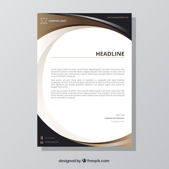 Brochure with wavy brown shapes