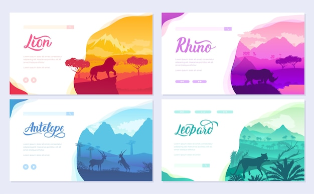 Brochures african animals in natural habitat. set of flyers with wildlife in the sunset of the day.