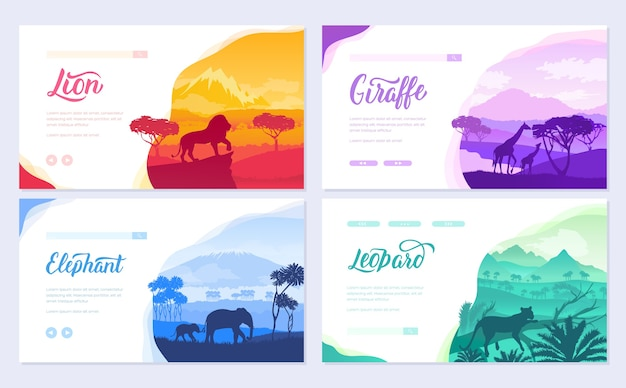 Brochures with african animals in natural habitat. template of flyear, ui header, enter site.