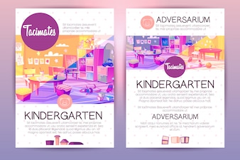 Brochures with cartoon kindergarten for children, teaching in preschool institution.