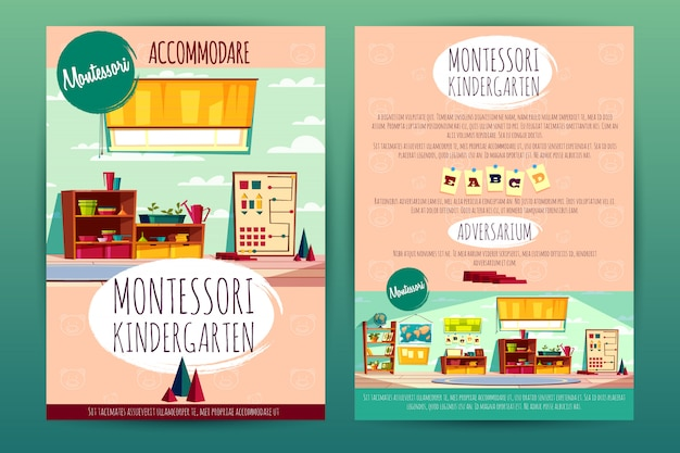 Brochures with montessori kindergarten, teaching in cartoon preschool institution