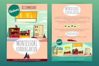 Brochures with Montessori kindergarten, teaching in cartoon preschool institution