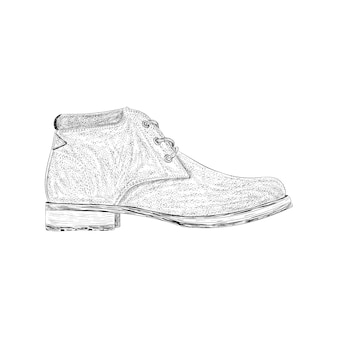 Brogue shoe illustration in hand drawn vector