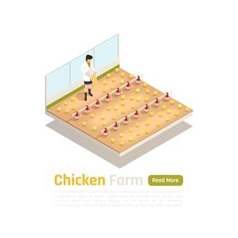 Производство бройлерного птицеводства изометрическая иллюстрация