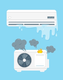 Broken air conditioner vecor illustration on blue background.