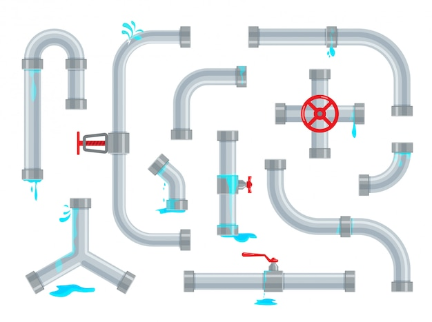 끊어지고 새는 수도관. 배관 수리. 파이프 라인 부품, 밸브 및 배관이 분리되어 있습니다. 트렌디 한 플랫 스타일의 산업용 배수 시스템 세트.