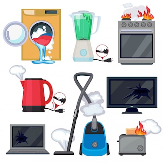 Broken appliance. damage kitchen home items tv washing machine tablet laptop vector cartoon illustrations