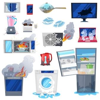 깨진 기기는 가전 제품 또는 흰색 배경에 손상 된 번 아웃 냉장고 또는 세탁기의 화재 그림 세트에서 전기 가정용 장비를 손상
