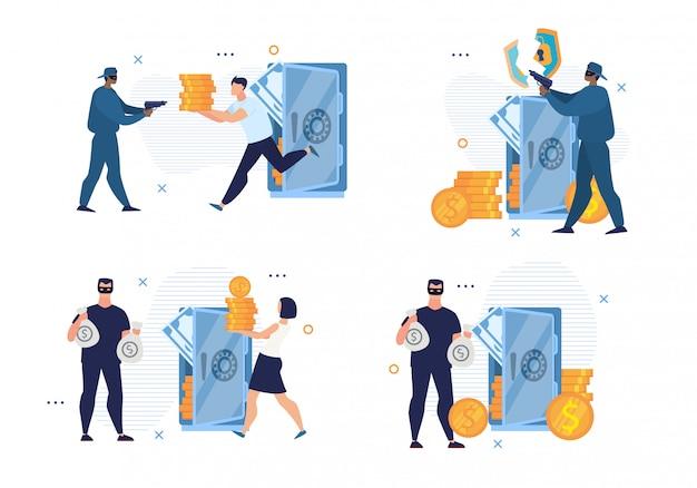고장난 은행 보안 시스템 및 사이버 범죄 세트 프리미엄 벡터