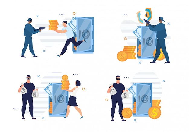 Broken bank security system and cyber crime set