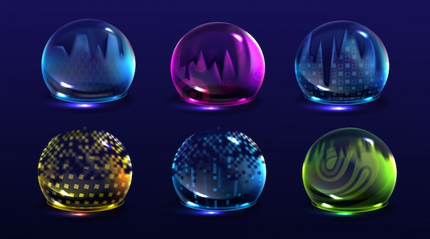 Broken bubble shields, damaged protection force fields. realistic set of cracked safety energy barrier, shiny spheres with fracture. broken defence concept