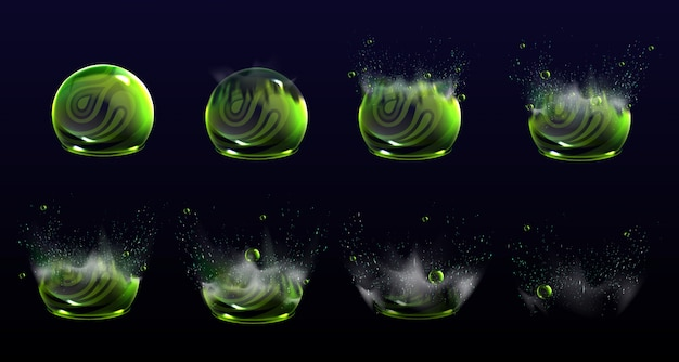 Broken bubble shields explosion animation stages, force spheres or defense dome fields blow up. elements for motion design, science fiction deflector, firewall protection, realistic 3d set