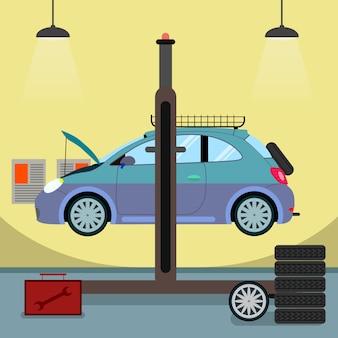 Broken car on hydraulic lift vector illustration