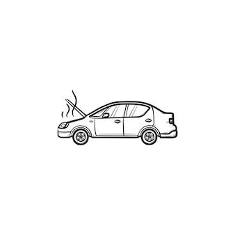 열린 후드와 증기 손으로 그린 윤곽선 낙서 아이콘이 있는 깨진 자동차. 열 문제 및 엔진, 사고 개념입니다. 인쇄, 웹, 모바일 및 흰색 배경에 인포 그래픽에 대한 벡터 스케치 그림.