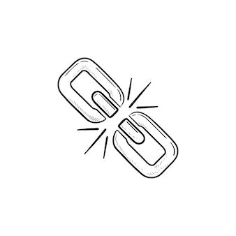 壊れたチェーンリンク手描きのアウトライン落書きアイコン。レックチェーンリンク、切断された接続、切断の概念
