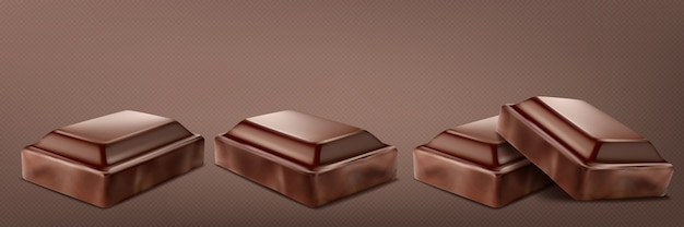 Broken chocolate bar set isolated on transparent background.
