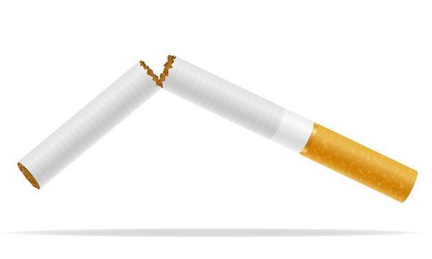 Broken cigarette concept no smoke on white