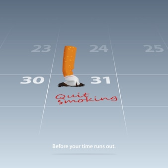 Broken cigarette marked date quit smoking on calendar 31th may.