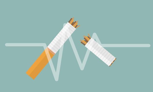Сломанная сигарета вектор плоский значок дизайн на белом фоне. элемент для логотипа. не курить. прекрати курить.